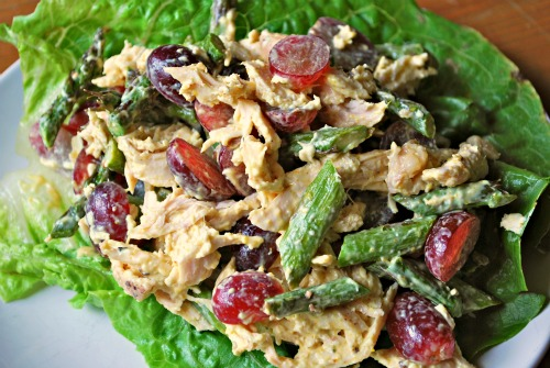 Curried Chicken Salad with Grapes and Asparagus (Family Bites)