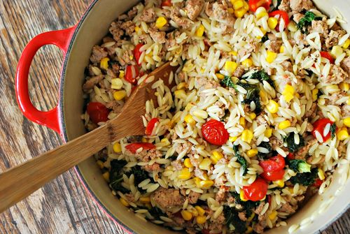 Orzo, Corn, Kale and Sausage