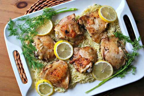 Lemon Chicken-Dill Orzo