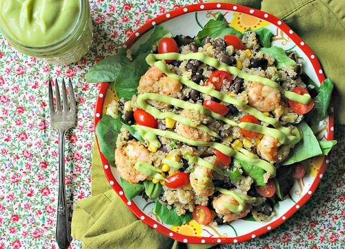 Quinoa Shrimp and Avocado Salad