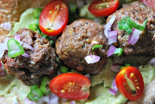 Meatballs avocado tzatziki