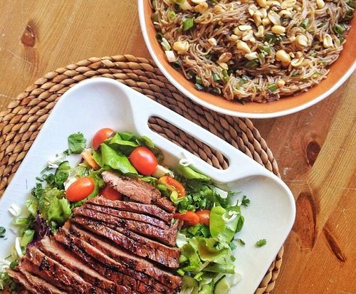 Steak salad and spicy sesame noodles.jpg