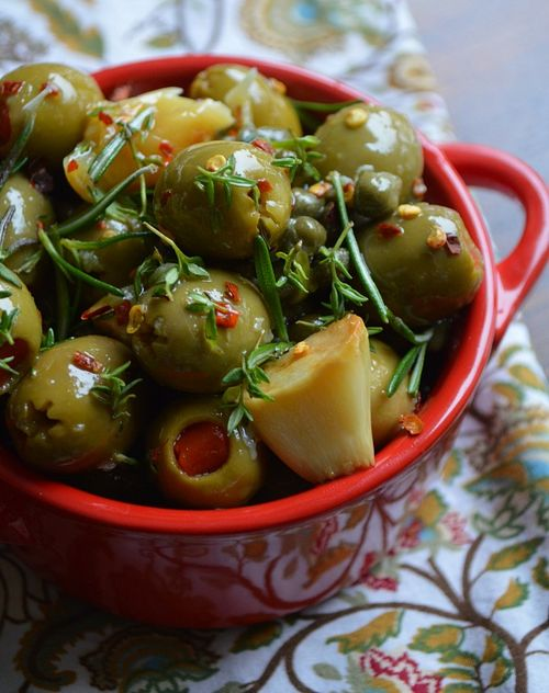 Mixed Olives with Capers and Roasted Garlic