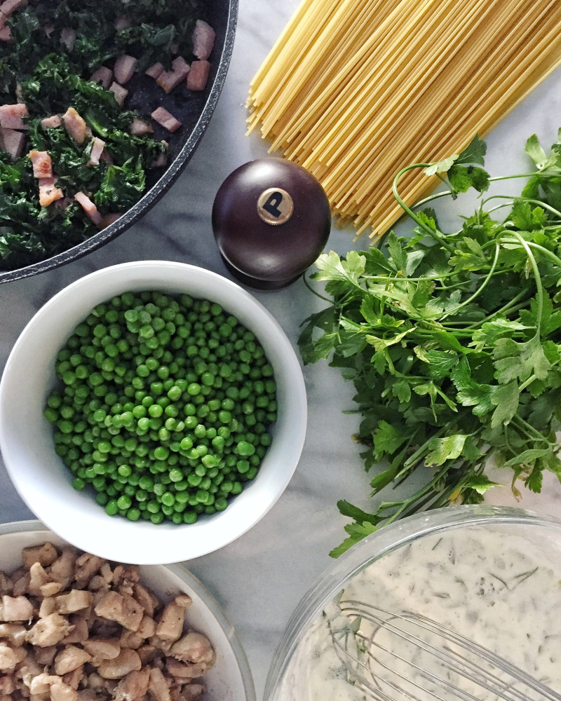 Kale and Chicken Carbonara  2